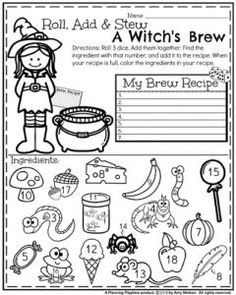 First Grade Math Worksheet for Halloween - Roll, Add and Stew a Witch's Brew: 3 Addend Addition.