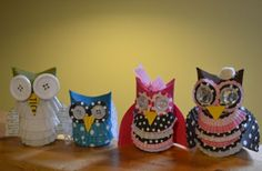 Owls from TP rolls & cupcake liners :]] tipjunkie.com