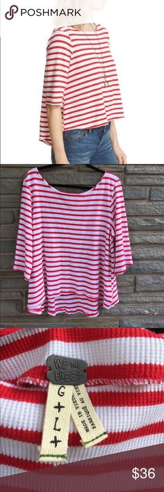 Free People Cannes Tee NWT. Free People Cannes Tee in Red + White. Bateau Neckline, Waffle Stretch Cotton, Elbow Sleeves, Hi-Lo Hem.. Size L Free People Tops