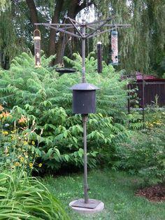 How to build a bird feeder pole from an old patio umbrella