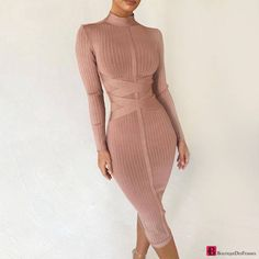 Back Zippers Wine Red Long Sleeve Knee Length Bodycon Dress Sexy Women Party New Winter Bandage Dress Vestidos Classy Outfits, Chic Outfits, Dress Outfits, Dress Shoes, Shoes Heels, Pastel Outfit, Sexy Dresses, Cute Dresses, Fashion Dresses
