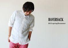 【楽天市場】HAVERSACK ハバーサック チンストラップ ラミースタンドカラーシャツ・821372(全2色)(M・L)【2013春夏】:Crouka LR(クローカ エルアール)