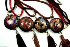 Lot of 4 Gold Tone MEtal Cloisonne Enamel Butterfly Bird Round Pendant Necklace Tassel Necklace, Pendant Necklace, Round Pendant, Butterflies, Tassels, Jewelery, Enamel, Chinese, Bird