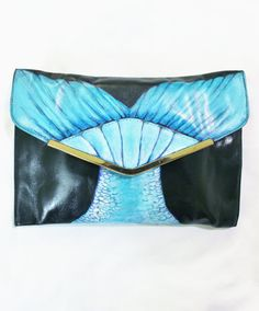 This is my third hand painted purse and I am so excited to present it!  I found this super cool black 1970s genuine leather clutch on my