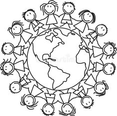 World Clipart, Kindergarten Coloring Pages, Coloring Pages For Kids, Printable Coloring Pages, Free Printable World Map, Around The World Crafts For Kids, Harmony Day, Globe Art, Japanese Embroidery