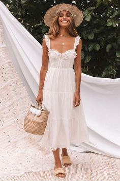 White Sweet Lace Midi Dress Source by Dresses Vestido Maxi Floral, Sequin Midi Dress, White Midi Dress, Midi Dresses, Long White Dress Boho, Boho Midi Dress, White Dress Casual, White Sundress Long, White Dress Summer