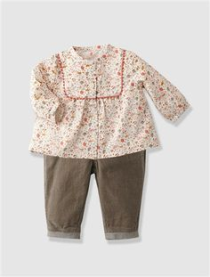 Baby-Set aus Bluse und Hose für Mädchen BEDRUCKT+TAUPE