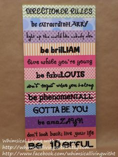 Whimsical Directioner Rules sign, One Direction fans wall hanging, teen girl decor gift, Harry Liam Louis Niall Zayn, song lyrics One Direction Crafts, One Direction Room, One Direction Lyrics, Zayn Malik, Niall Horan, Larry Stylinson, 5sos, Teen Girl Decor, Auryn