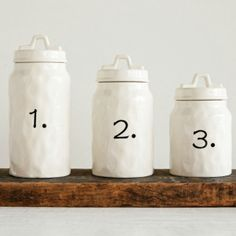 Ceramic Numbered Canister, Set of 3