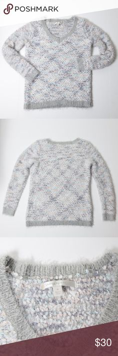 Lauren Conrad V-Neck Fuzzy Pastel Sweater Medium Lauren Conrad fuzzy pastel sweater. Size medium. Super soft and comfortable. Grey with baby blue, pink, white and a little bit of silver shimmer mixed in. Whispy eyelash trim creates a fuzzy look. Great preloved condition. No noticeable holes, stains or rips. LC Lauren Conrad Sweaters V-Necks