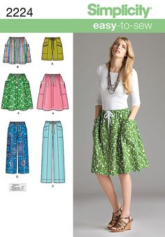 Simplicity Patterns S2224 - Easy to Sew Collection. Misses' pull-on skirt and pants in two lengths or shorts sewing pattern.