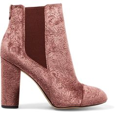 Sam Edelman Case embossed velvet ankle boots (170 PEN) ❤ liked on Polyvore featuring shoes, boots, ankle booties, booties, buty, floral booties, block-heel ankle boots, ankle boots, high heel bootie and high heel booties
