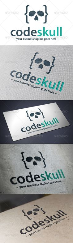 Code Skull	 Logo Design Template Vector #logotype Download it here: http://graphicriver.net/item/code-skull-logo-template/5482870?s_rank=1705?ref=nesto