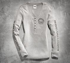 Casual comfort meets downtown style. | Harley-Davidson Women's Skull Long-Sleeve Henley