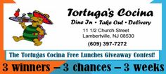 Tortugas Giveaway - THREE Lucky Winners will win Lunch for TWO in #Lambertville at #Tortugas Cocina!  Now open for lunch Thur-Sun!   Click the pic to enter, Repin for a BONUS entry!  #pinITtoWinIT