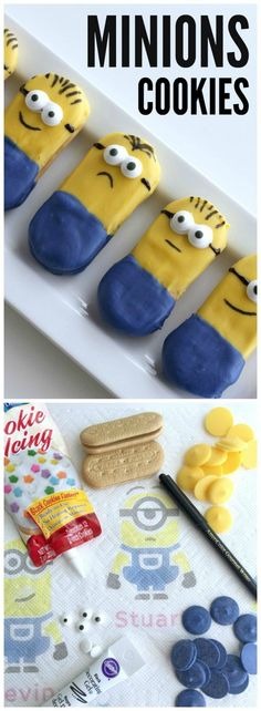 How To make cute Minions cookies with only store-bought ingredients. Super easy to do! See more Minions party ideas at CatchMyParty.com! #quickerpickerupper #ad @bountytowels