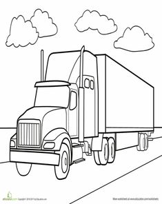 What happens when Harrison gets on Pinterest with me...  Worksheets: Semi Truck Coloring Page