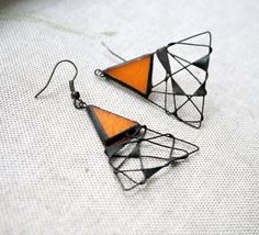 Unique Earrings Orange Triangle - Spider Web, Copper, Stained Glass, Statement Jewelry via Etsy