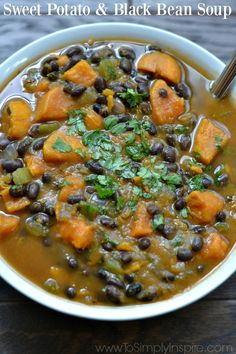 This Sweet Potato and Black Bean Soup is a savory, hearty blend of amazing flavors. The added cilantro and spices add the perfect amount of scrumptiousness.
