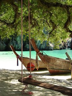 private beach with swing