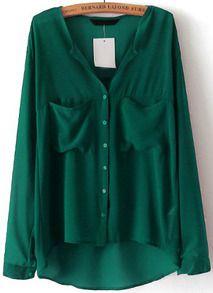 Blusa gasa cuello pico bolsillos-verde