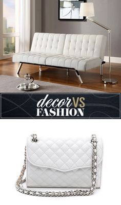 decor vs. fashion: white futon or clutch?