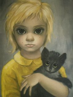 "by Margaret Keane. I love this pic. I inherited it from my Grammawl. It was funny. We were watching ""whatever happened to baby Jane"" and there it was on the was on the wall!"