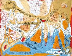 Angelina Tjaruwa Woods - Paupiya Dreaming Time story (Seven Sisters) - 75x60 cm http://www.aboriginalsignature.com/art-aborigene-spinifex-art-project/angelina-tjaruwa-woods-paupiya-dreaming-time-story-seven-sisters-75x60-cm