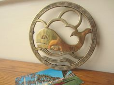 Whale of a whale brass trivet.  Nautical decor. by ModelVintage, $24.00