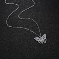 JOVO népszerű női nyaklánc pillangó medálok s925 ezüst kék cirkon állat divatos női ajándék finom ékszerek