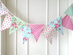 Shabby Chic Bunting Wedding Fabric Banner Garland by BerryAlaMode