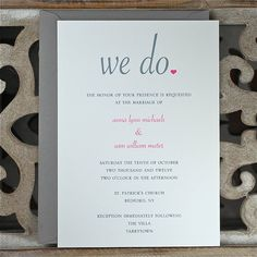 Wedding Invitations / Wedding Invitation / Wedding Invites - We Do Love the wording.