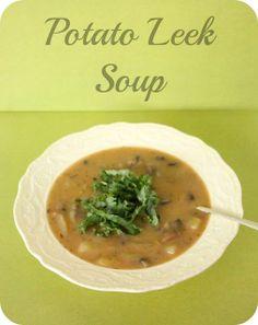 vegan potato leek soup with mushrooms and a kale garnish.