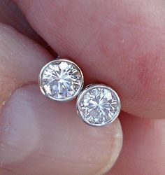 1/2 Carat White Gold Bezel Diamond Stud Earrings