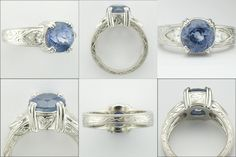 All Custom Platinum and Blue Sapphire Ring - all hand engraved here at The Jewelbox in Ithaca, NY. For You Blue, Blue Sapphire Rings, All That Glitters, Wishful Thinking, Hand Engraving, Costume Ideas, Custom Design, Cufflinks, Bling