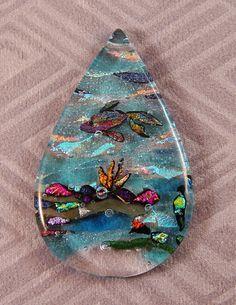 Fused glass dichroic ocean themed pendant by ChrysalisDreams, $60.00