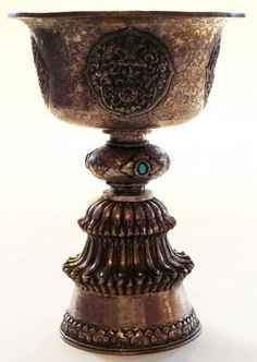 Chinese silver chalice,tibetan style with turquoise.  XVIII century  Private collection