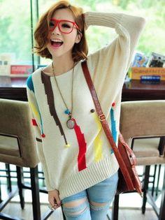 korean fashion | ... Hot Sale Winter Fashion Korean Style Loose Bat Sleeve Sweater