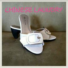 Chinese laundry white summer heel sandle shoe Great shape Chinese Laundry Shoes