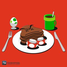 Awesome Super Mario inspired t-shirt design available on TeeBusters! #VideoGame #Nintendo #T-Shirt #Design #Cute #Cool #Mario #Breakfast