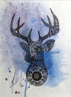 Original Deer Head Painting Mandala mosaic print by WestridgeART, $60.00