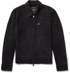 While café racer jackets were originally used quite literally for zipping between cafés on a motorcycle, we recommend wearing <a href='http://www.mrporter.com/mens/Designers/Todd_Snyder'>Todd Snyder</a>'s 'Dean' version for more leisurely pursuits. It's cut from exceptionally supple nubuck in a deep midnight-blue, and has a lightweight feel that makes it well suited for changeable weather in between the seasons. The bi-swi...