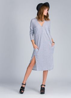 We may or may not have worn this chic ribbed dress to work and to bed. Oops.