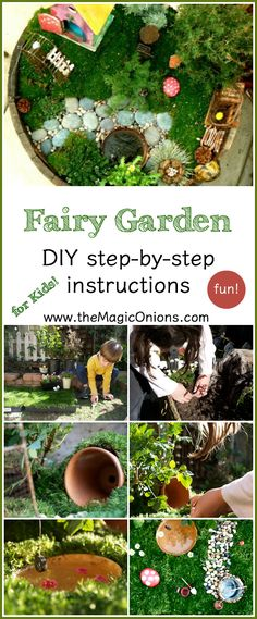 How to make a kid friendly fairy garden :: the Magic Onions :: www.theMagicOnion… How to make a kid friendly fa Kids Fairy Garden, Fairy Garden Houses, Garden Path, Fairies Garden, Plants For Fairy Garden, Fairy Gardening, Garden Types, Garden Crafts, Garden Projects