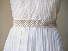 Bridal wedding beaded pearl/crystal sash/belt 6 rows  by IngenueB, $85.00