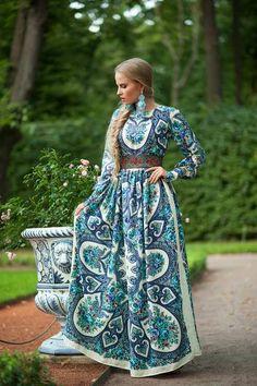 Длинное штапельное платье в русском стиле