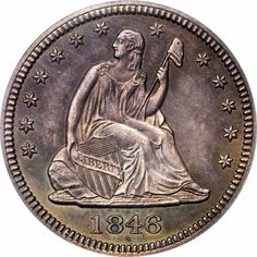 US Coins 1846 Seated Liberty Quarter Dollar without Motto