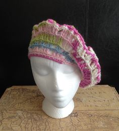 Buy Spring Stripe Pink Green Beret Hat. Handmade by creative people crafting through DISABILITIES or CHRONIC ILLNESS