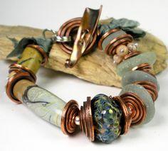 Sea Glass Bracelet Chunky Beaded Bracelet Boro Glass by FebraRose
