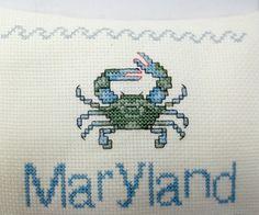 Maryland Blue Crab Cross Stitched Hanging by luvinstitchin4u